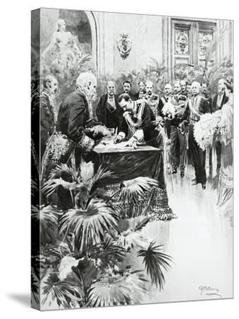 King Victor Emmanuel III Signing Umberto Ii's Birth Certificate in the Presence of Giolitti--Stretched Canvas Print