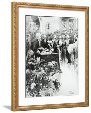 King Victor Emmanuel III Signing Umberto Ii's Birth Certificate in the Presence of Giolitti--Framed Giclee Print
