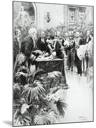 King Victor Emmanuel III Signing Umberto Ii's Birth Certificate in the Presence of Giolitti--Mounted Giclee Print
