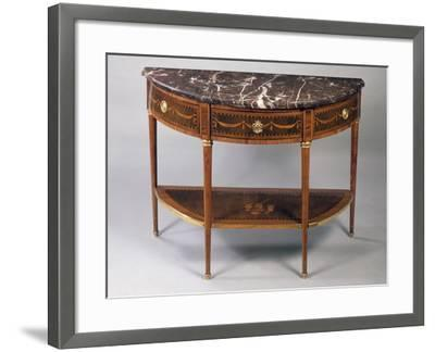Louis XVI Style Crescent Shaped Tulipwood Dessert Console Table with Light Wood Inlays--Framed Giclee Print