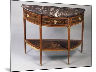 Louis XVI Style Crescent Shaped Tulipwood Dessert Console Table with Light Wood Inlays--Mounted Giclee Print