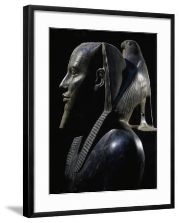 Pharaoh Khafre on Throne with Wings of Falcon God Horus Wrapped around His  Head Giclee Print by | Art com