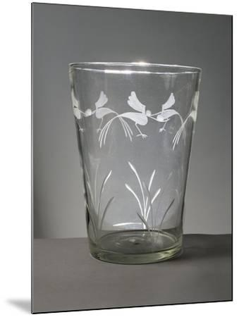 Flower Vase in White Glass with Engravings around the Rim Depicting Marsh Grasses and Wading Birds--Mounted Giclee Print