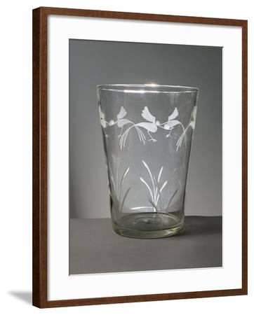 Flower Vase in White Glass with Engravings around the Rim Depicting Marsh Grasses and Wading Birds--Framed Giclee Print