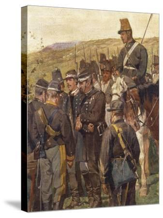 Third War of Independence - Prince Amedeo of Savoy Wounded at the Battle of Custoza--Stretched Canvas Print