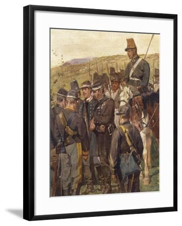 Third War of Independence - Prince Amedeo of Savoy Wounded at the Battle of Custoza--Framed Giclee Print