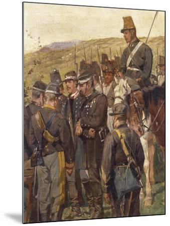 Third War of Independence - Prince Amedeo of Savoy Wounded at the Battle of Custoza--Mounted Giclee Print