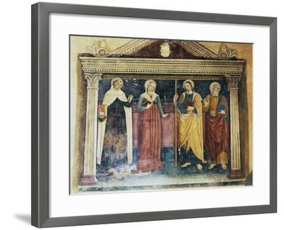 Figures of Saints on Needle Lace Hem for Altar Tablecloth with Vegetable Shoots and Gospel Episodes--Framed Giclee Print
