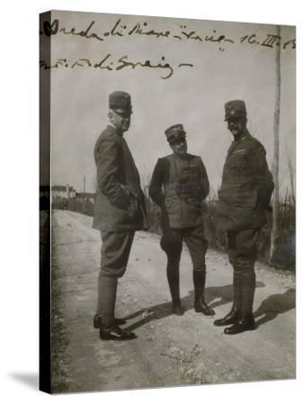 Emanuele Filiberto of Savoy-Aosta with General Paolini in Breda Di Piave--Stretched Canvas Print