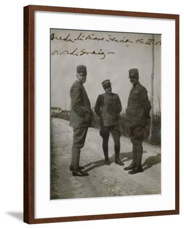Emanuele Filiberto of Savoy-Aosta with General Paolini in Breda Di Piave--Framed Giclee Print