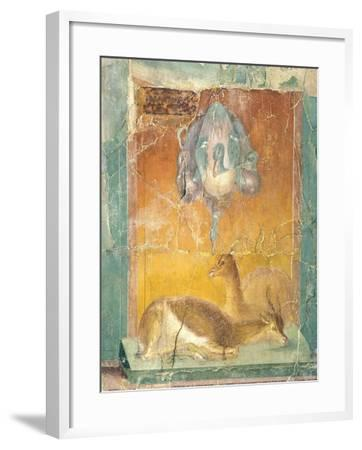 Fragment of Wall Decoration in Second Pompeian Style Showing Ducks and Antelopes--Framed Giclee Print