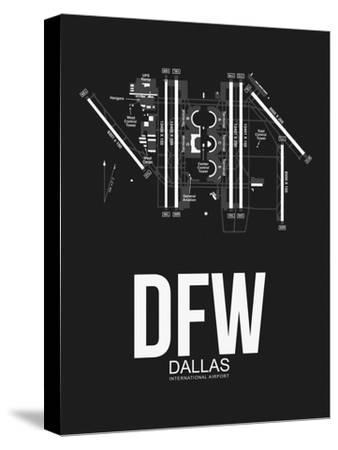 DFW Dallas Airport Black-NaxArt-Stretched Canvas Print