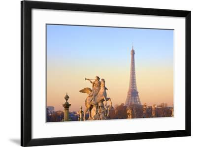Eiffel Tower from Place De La Concorde with Statue in Foreground, Paris, France, Europe-Neil-Framed Photographic Print