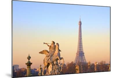 Eiffel Tower from Place De La Concorde with Statue in Foreground, Paris, France, Europe-Neil-Mounted Photographic Print