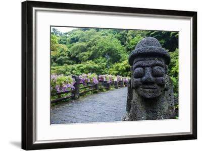 Basalt Statue in Seogwipo, Island of Jejudo, UNESCO World Heritage Site, South Korea, Asia-Michael-Framed Photographic Print