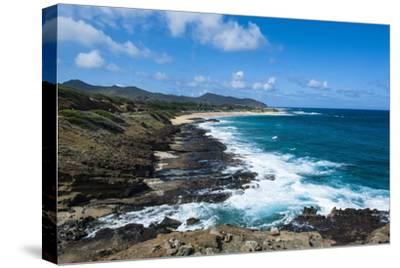 Lookout over Sandy Beach, Oahu, Hawaii, United States of America, Pacific-Michael-Stretched Canvas Print