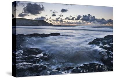 Rocky Coast at Treyarnon Bay at Sunset, Cornwall, England, United Kingdom, Europe-Matthew-Stretched Canvas Print