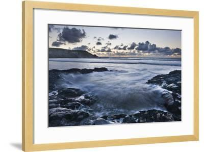 Rocky Coast at Treyarnon Bay at Sunset, Cornwall, England, United Kingdom, Europe-Matthew-Framed Photographic Print