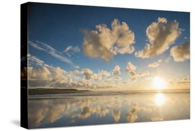 Cloud Reflections at Constantine Bay at Sunset, Cornwall, England, United Kingdom, Europe-Matthew-Stretched Canvas Print