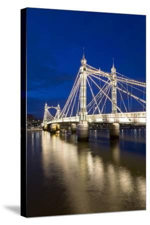 Albert Bridge and River Thames at Night, Chelsea, London, England, United Kingdom, Europe-Stuart-Stretched Canvas Print