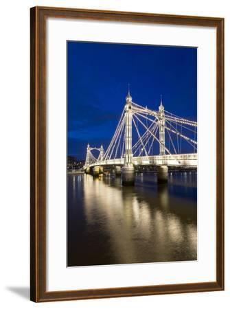 Albert Bridge and River Thames at Night, Chelsea, London, England, United Kingdom, Europe-Stuart-Framed Photographic Print
