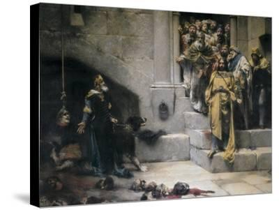 King Ramiro II Ordering Beheading of Disobedient Nobles-Jose Casado Del Alisal-Stretched Canvas Print