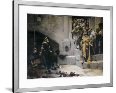King Ramiro II Ordering Beheading of Disobedient Nobles-Jose Casado Del Alisal-Framed Art Print
