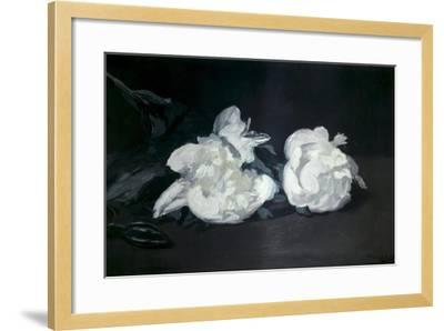 Branch of White Peonies and Secateurs-Edouard Manet-Framed Art Print