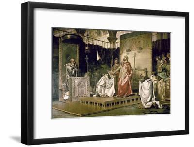 Conversion of Recared I, the Visigothic King of Hispania 587-Antonio Munoz Degrain-Framed Art Print