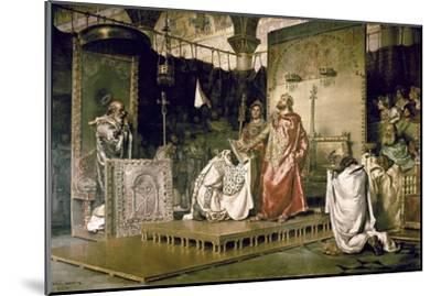 Conversion of Recared I, the Visigothic King of Hispania 587-Antonio Munoz Degrain-Mounted Art Print