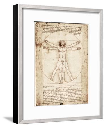Vitruvian Man-Leonardo da Vinci-Framed Premium Giclee Print