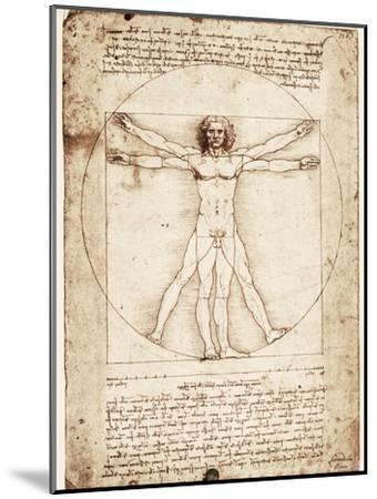 Vitruvian Man-Leonardo da Vinci-Mounted Premium Giclee Print