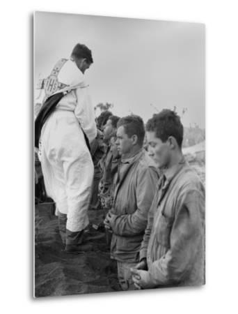 U.S. Marines and a Chaplain Celebrate Catholic Communion During the Battle of Iwo Jima--Metal Print