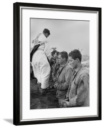 U.S. Marines and a Chaplain Celebrate Catholic Communion During the Battle of Iwo Jima--Framed Photo