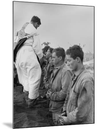 U.S. Marines and a Chaplain Celebrate Catholic Communion During the Battle of Iwo Jima--Mounted Photo