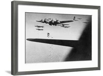 American B-17S Drop Bombs over Meudon--Framed Photo