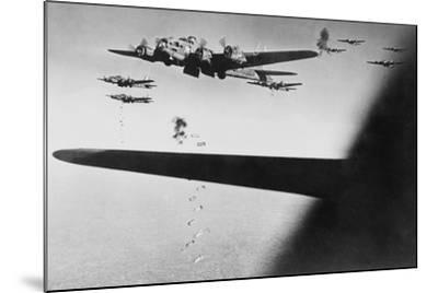 American B-17S Drop Bombs over Meudon--Mounted Photo