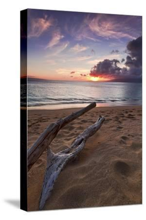 The Sun Setting over the Ocean on North Kaanapali Beach in Maui, Hawaii-Clint Losee-Stretched Canvas Print