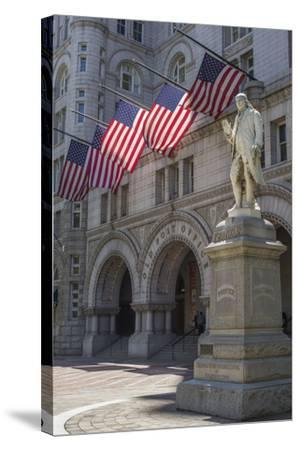 USA, Washington Dc. Ben Franklin Statue Fronts Old Post Office-Charles Crust-Stretched Canvas Print