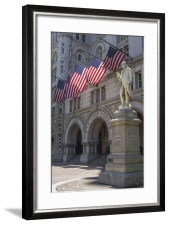 USA, Washington Dc. Ben Franklin Statue Fronts Old Post Office-Charles Crust-Framed Photographic Print