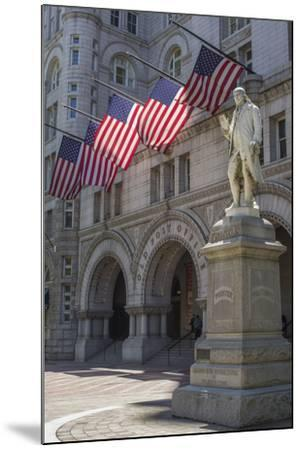 USA, Washington Dc. Ben Franklin Statue Fronts Old Post Office-Charles Crust-Mounted Photographic Print