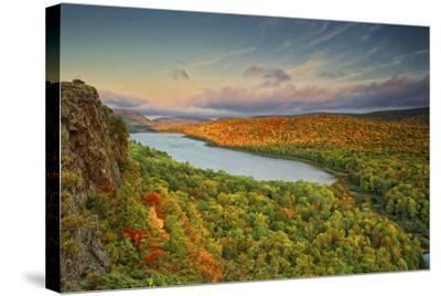 Michigan, Upper Peninsula. Sunset at Lake of the Clouds-Petr Bednarik-Stretched Canvas Print