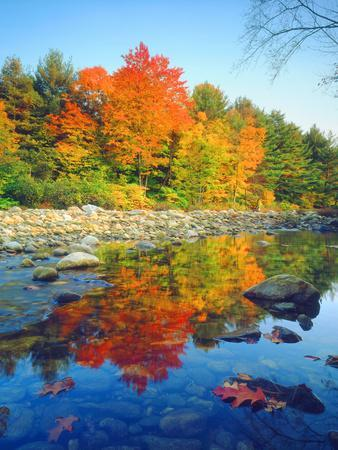 USA, Vermont, Autumn Colors Reflecting in a Stream in Vermont-Jaynes Gallery-Framed Photographic Print