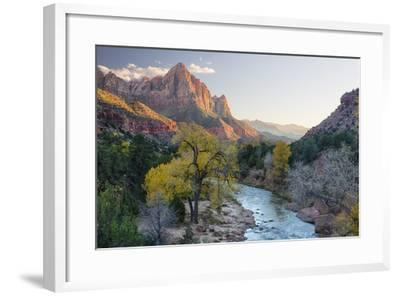 USA, Utah, Zion National Park, Virgin River and the Watchman-Jamie & Judy Wild-Framed Photographic Print