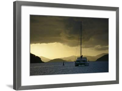 Caribbean, British Virgin Islands, Tortola. Catamaran at Soper's Hole-Kevin Oke-Framed Photographic Print