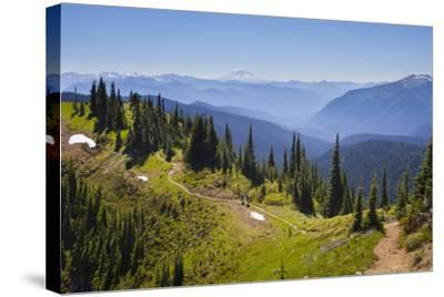 USA, Washington. Backpackers on Cowlitz Divide of Wonderland Trail-Gary Luhm-Stretched Canvas Print