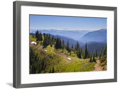 USA, Washington. Backpackers on Cowlitz Divide of Wonderland Trail-Gary Luhm-Framed Photographic Print