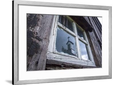Iceland, Southern Land, Church Reflected in a House Window-Gavriel Jecan-Framed Photographic Print