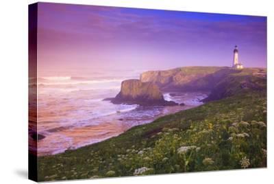 Sunrise Thru Fog, Yaquina Head Lighthouse, Oregon Coast. Pacific Northwest, United States-Craig Tuttle-Stretched Canvas Print