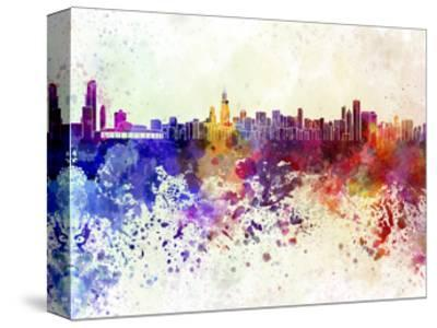 Chicago Skyline in Watercolor Background-paulrommer-Stretched Canvas Print